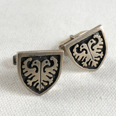 "F&S Sterling Heraldic Double Eagle ""Ever Watchful"" Cufflinks"