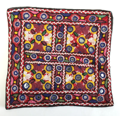 1970's Tapestry Square Pillow Cover # 2 w/ Mirrors - India
