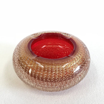 Murano Ashtray Red & Gold Bullicante Bubbles