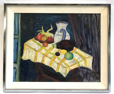 1940's Still Life with Eggplant and Pitcher Signed Annette Robyns
