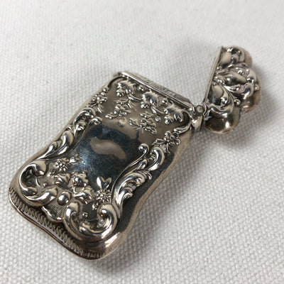 Antique Sterling Silver Match Case Repousse
