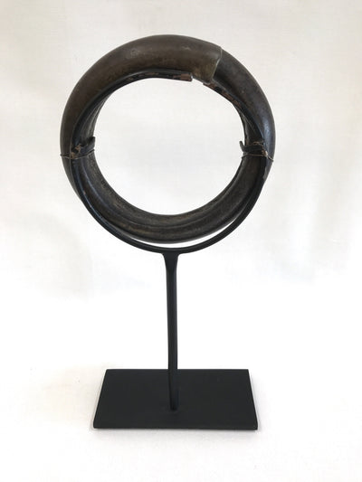 Minimalist Circular Mounted Bronze Relic on Stand