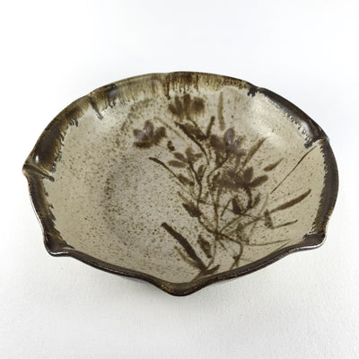 "Studio Pottery 11"" Bowl with Flowers Brown & Beige"