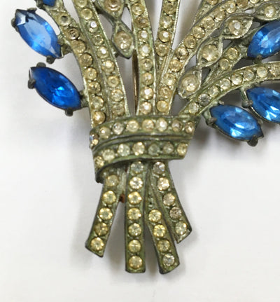 1930's Blue/Clear Stone Floral Spray Pin - Vintage