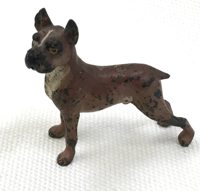 Antique 1900 Vienna Bronze Boxer Dog Miniature Sculpture