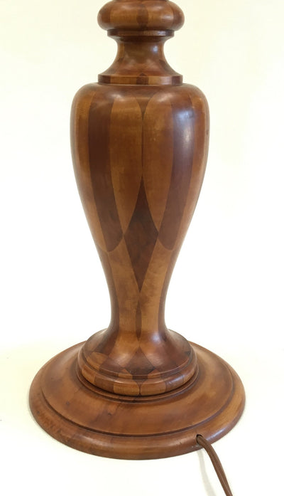 Marquetry Wood Table Lamp Vintage