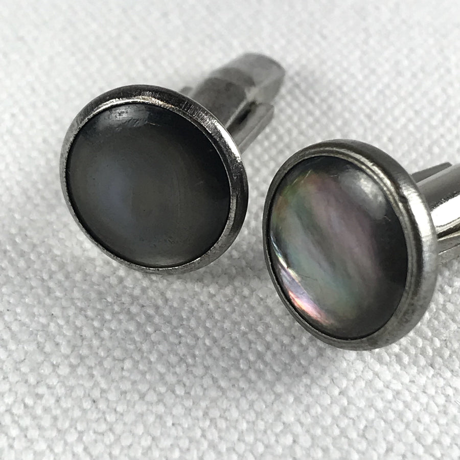 Vintage Abalone Round Cuff Links