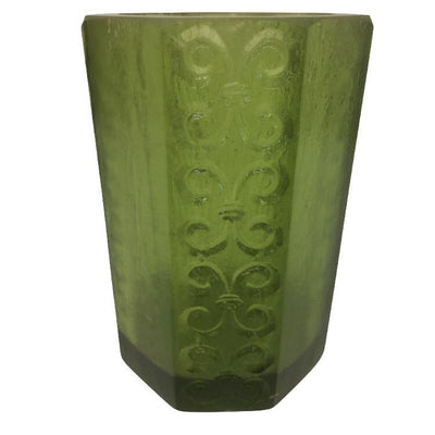 1970s Sascha Brastoff Octagonal Green Resin Candle Holder