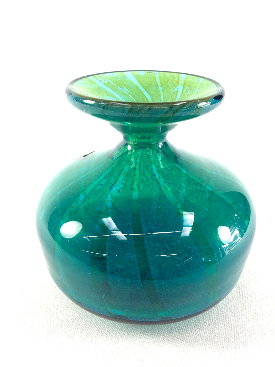 Vibrant Blue & Green Ming Pattern Vase Mdina Glass Malta Signed