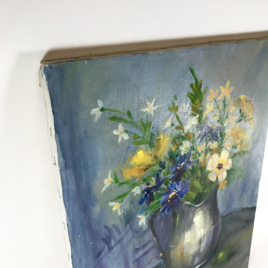 Vintage Oil on Canvas Impressionistic Still Life Wildflowers Oranges & Limes