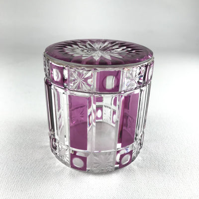 Bright Cranberry Cut Glass Vanity Jar Marked Made in France