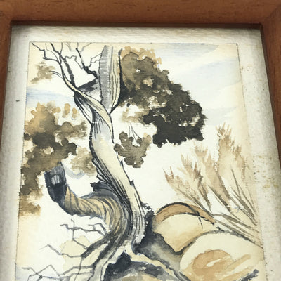 Framed Watercolor on Paper Tree Painting Signed John Conner