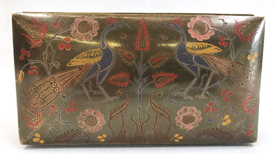 1970s Brass Box with Polychromed Peacock Design