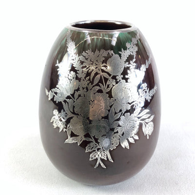 Vintage Royal Haeger Purple Vase With Sterling Silver Floral Pattern