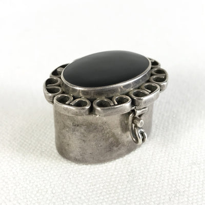 Vintage Mexican Silver Oval Pill Box Onyx Lid