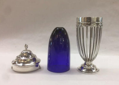 Antique 1909 Haseler Sterling & Cobalt Blue Sugar Shaker - London
