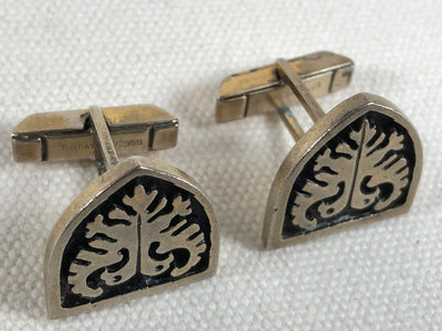 "Vintage Fenwick & Sailors Sterling Heraldic Double Eagle ""Ever Watchful"" Cufflinks"