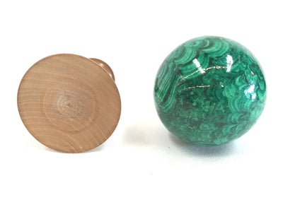 1970s Faux Malachite Sphere on Wood Stand