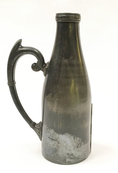 Antique Hinged Wine Bottle Cover Meriden Silverplate - The Mart Collective Los Angeles CA