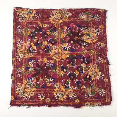 1970's Embroidered Indian Tapestry Square with Mirrors and Knotted Tassels (#7)