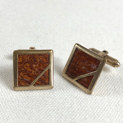 Vintage Gold Tone Cuff Links Inlaid Croc Hide