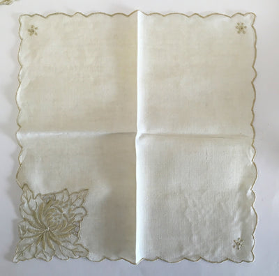 Beige Linen Embroidered Napkins s/10