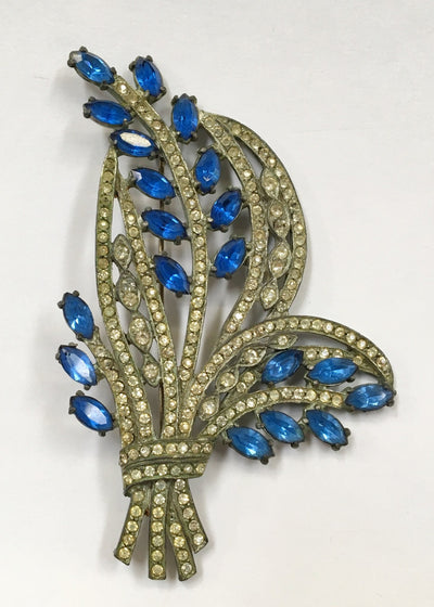Vintage Pin Brooch Blue and Clear Stones - The Mart Collective