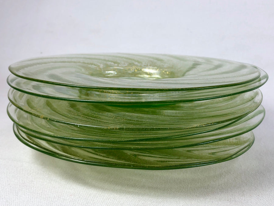 "Vintage Venetian Glass 7"" Round Green Dishes Gold Flecks - Set 7"