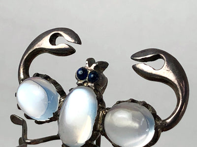Sterling Scorpion Brooch Moonstone Body Blue Sapphire Eyes