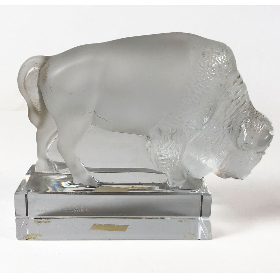 Lalique Signed Frosted Glass Buffalo Figure
