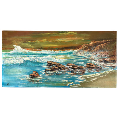 Vintage 1965 Seascape Sunset Oil on Canvas #4 Signed Jr