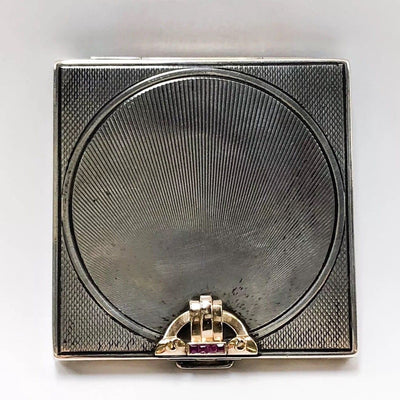 VTG Square Art Deco Compact Case 14k Gold Sterling Silver Mirror Synthetic Rubies