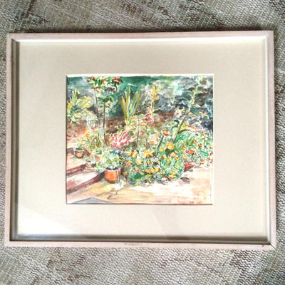 Framed Watercolor 'The Patio Garden' Signed Schoffman