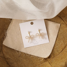 Load image into Gallery viewer, C-1491 Pearl Studded Drop Bow Earrings