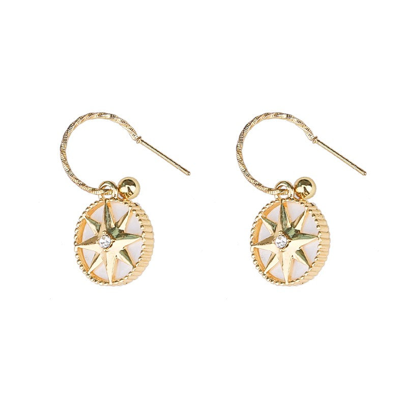 C-1353 Gold  Compass Earrings