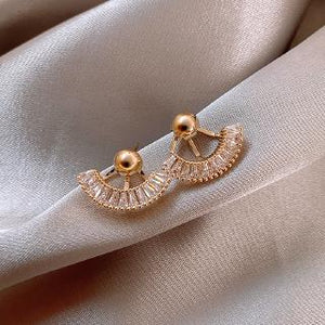 A-1440 Crystal Gold Jacket Earrings