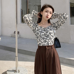 A-1032 Bubble Sleeves Square Neck Blouse