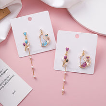 Load image into Gallery viewer, C-1323 Blue Assymetrical Balloon Cat Pearl Dangling Earrings
