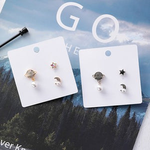 C-1249 3PC Sun Moon Star Earrings