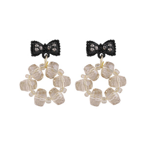C-1494 Black Bow Crystal Drop Earrings