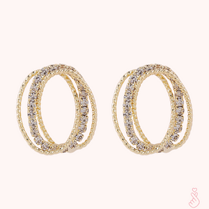 C-1495 Oval Rhinestone Earrings