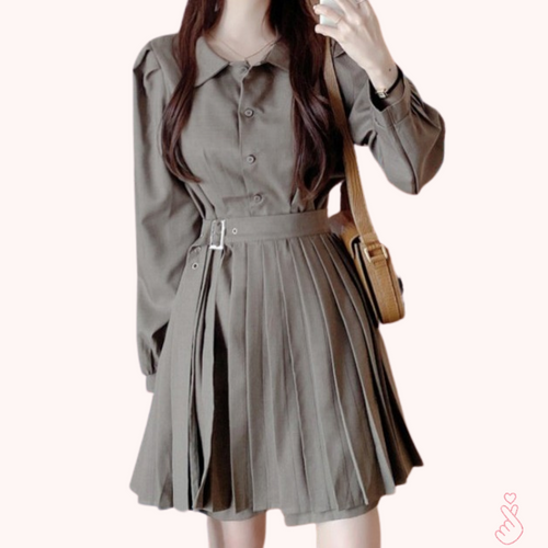 A-1002 Buttoned Pleated Dress