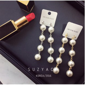 C-1092 Pearl Chain Earrings