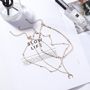 C-1271 Multilayer Moon Necklace