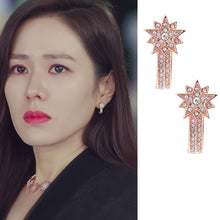 Load image into Gallery viewer, C-1299 Diamond Rose Gold Star Earrings