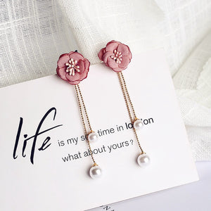 C-1445 Pollen Flower Pearl Tassel Earrings