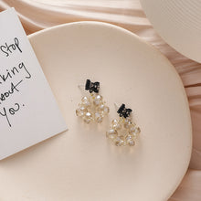Load image into Gallery viewer, C-1494 Black Bow Crystal Drop Earrings