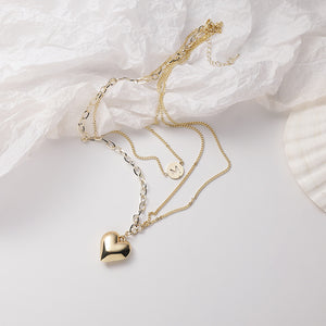 C-1492 M Heart Multilayer Clavicle Necklace