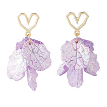Load image into Gallery viewer, C-1326 Purple Heart Leaf Earrings