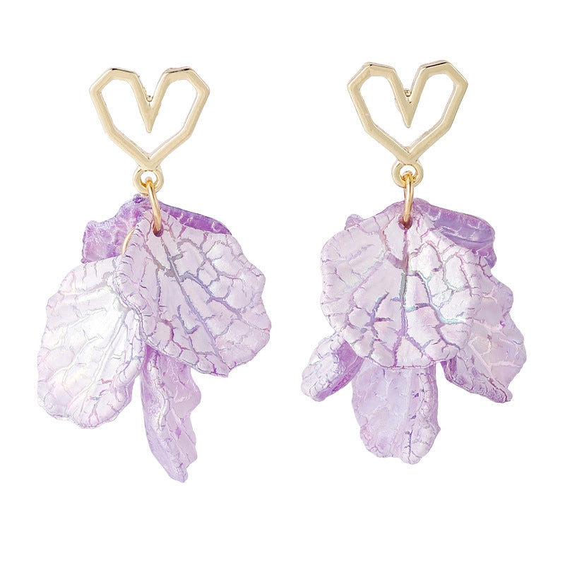 C-1326 Purple Heart Leaf Earrings